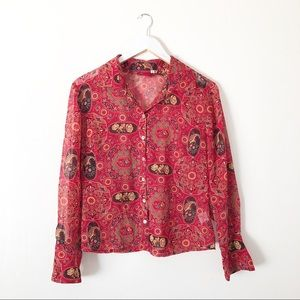 Silk Johnny Was Red Paisley Button Down Shirt